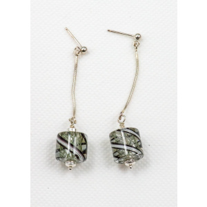 Paige Glass Earrings Black and White