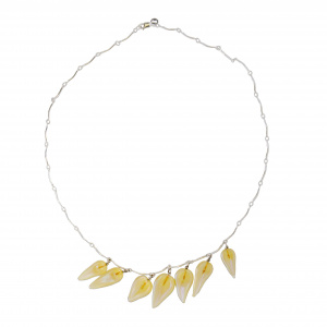 Yellow Petal Glass Necklace